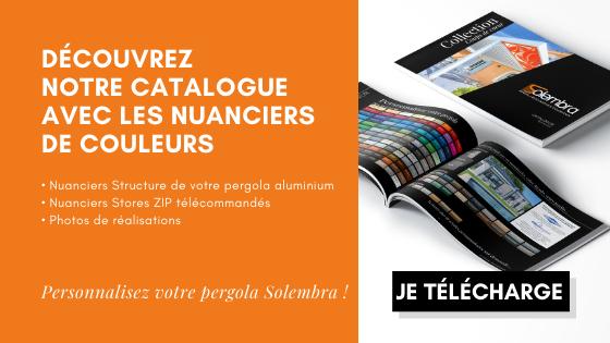 Catalogue Solembra avec tous les nuanciers de couleurs structure aluminium Claustra décoratif etnuanciers store zip screen