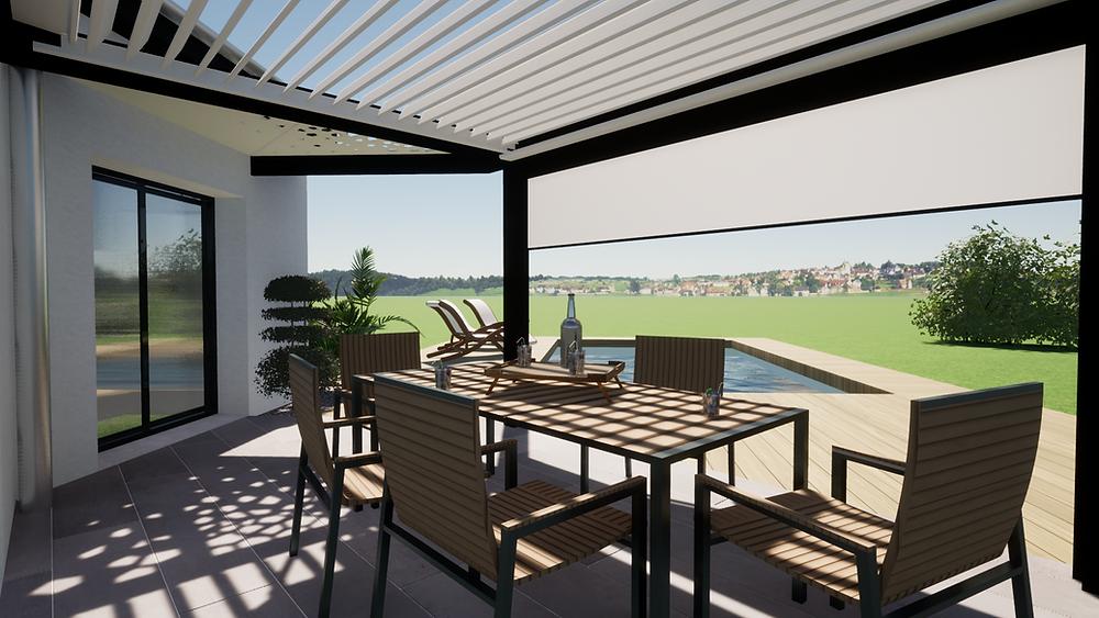 Projection graphique en plan 3D de la pergola bioclimatique sur-mesure Sol Design Solembra à Viriat près de Bourg-en-Bresse dans l'Ain avec poutre en diagonale et claustra vue de jour ouverte sur le jardin et les extérieurs depuis la terrasse sous la pergola