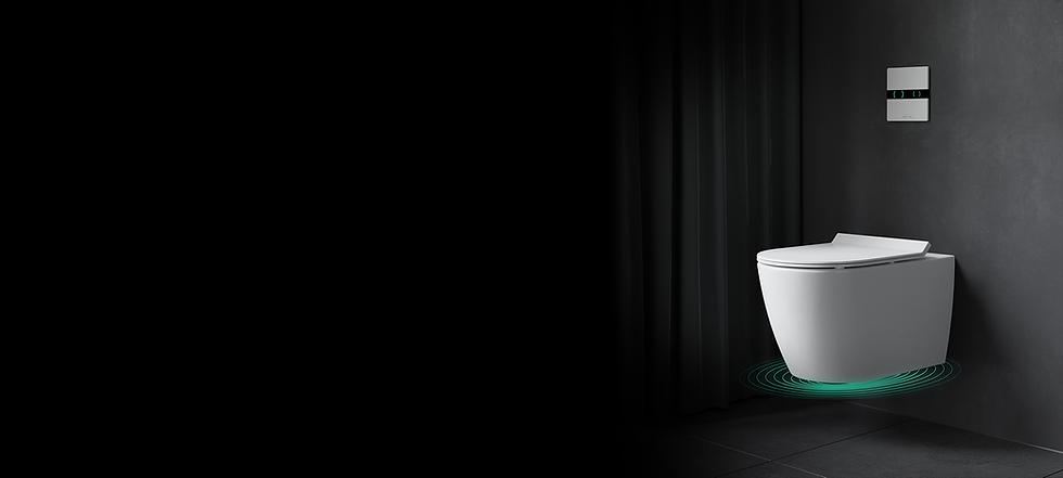 IPEE T5 slim toilet met Spectre technologie in zwarte badkamer