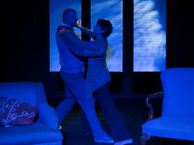 THE GUYS   Written by Anne Nelson  Directed by David Ian Lee  Featuring Nathaniel McIntyre as Nick, Karen Sternberg as Joan  Lighting Design by William Kyle Odum  Photograph by Michael Britt