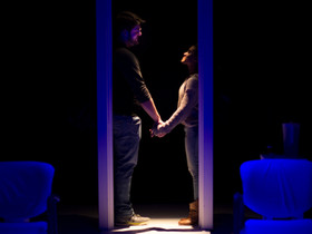 WORLD BUILDERS   Written by Johnna Adams  Directed by David Ian Lee  Featuring Andrew Johnson as Max, Miranda Pepin as Whitney  Scenic Design by David Brandon  Lighting Design by Taylor Thomas  Costume Design by Kate Sternberg  Photograph by Benjamin Borck