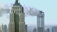 9/11 twin towers with Empire State in foreground