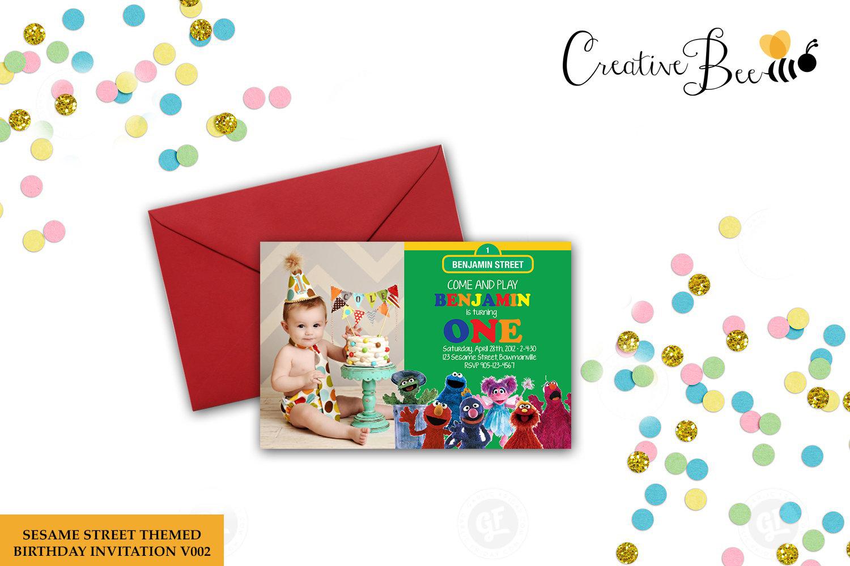 Sesame Street Themed Birthday Invitation