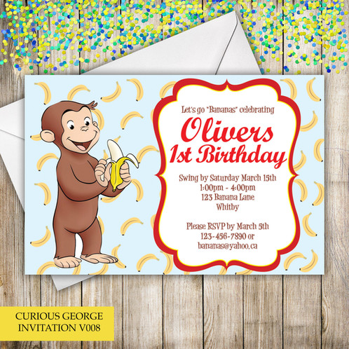 Curious george themed birthday invitation store your little one wil go bananas over these curious george themed birthday invitations they are perfect invitation to go with your curious george themed bookmarktalkfo Images