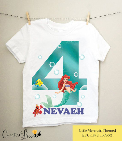 This Little Mermaid Tshirt Is The Perfect Tee For Your One Thesse Birthday Tees Go Great With Theme T Shirt Made Of Cotton And Has