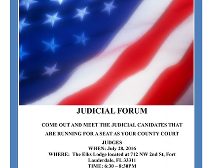 COUNTY COURT JUDICIAL FORUM W/ NAACP AND OMEGA PSI PHI JULY 28, 2016