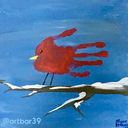 Toddler Handprint Cardinal