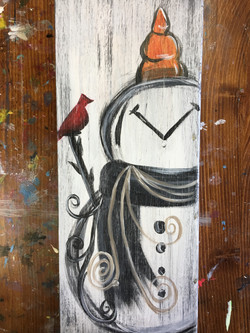 Rustic Snowman on Wood