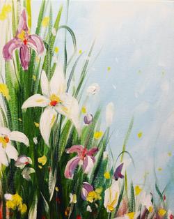 Spring Grass with Iris