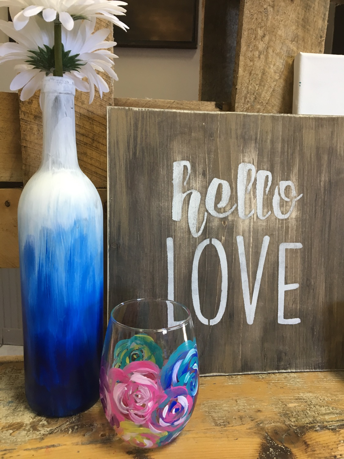 Wine bottle with an Ombre Wash