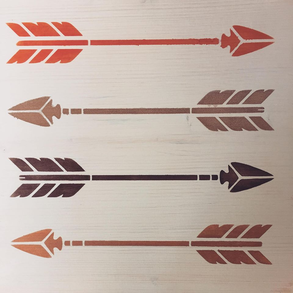 Arrow Stencil with multiple colors
