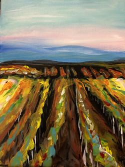 Vineyard at Dusk Abstract