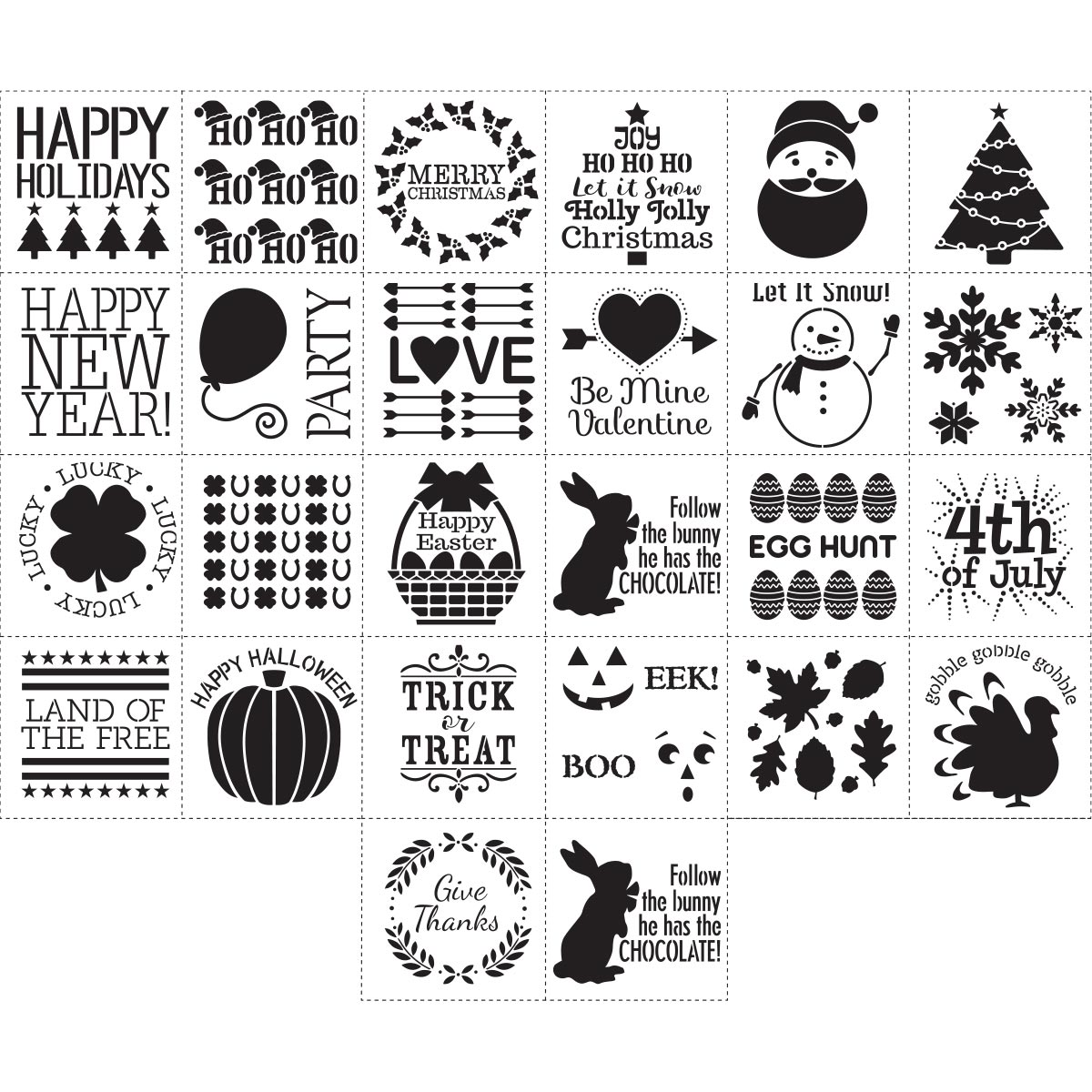 Hoilday Rustic Stencil Pack Options