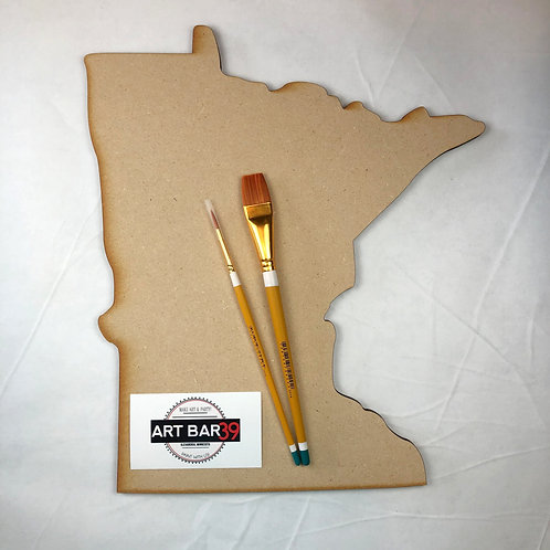 MN State Wood Cut out with Brushes