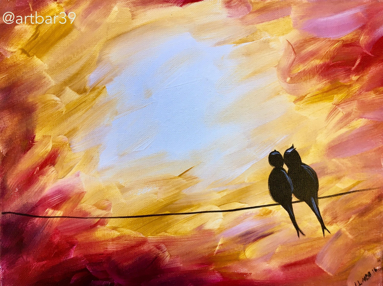 Love Birds- Pink Sky