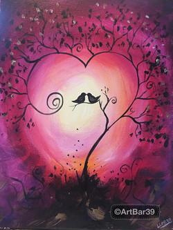Sunset Birds in a Heart Tree