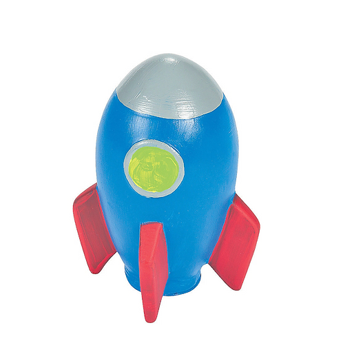 Ceramic Rocketship Paintable figurine Money Box