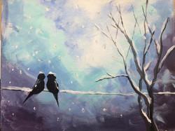 Love Birds in the Snow