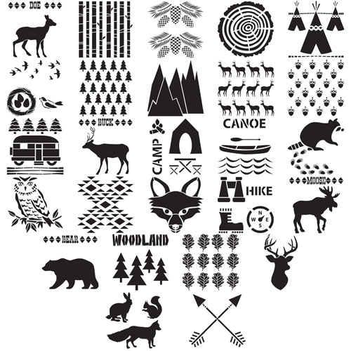 Woodland Rustic Stencil Pack Options