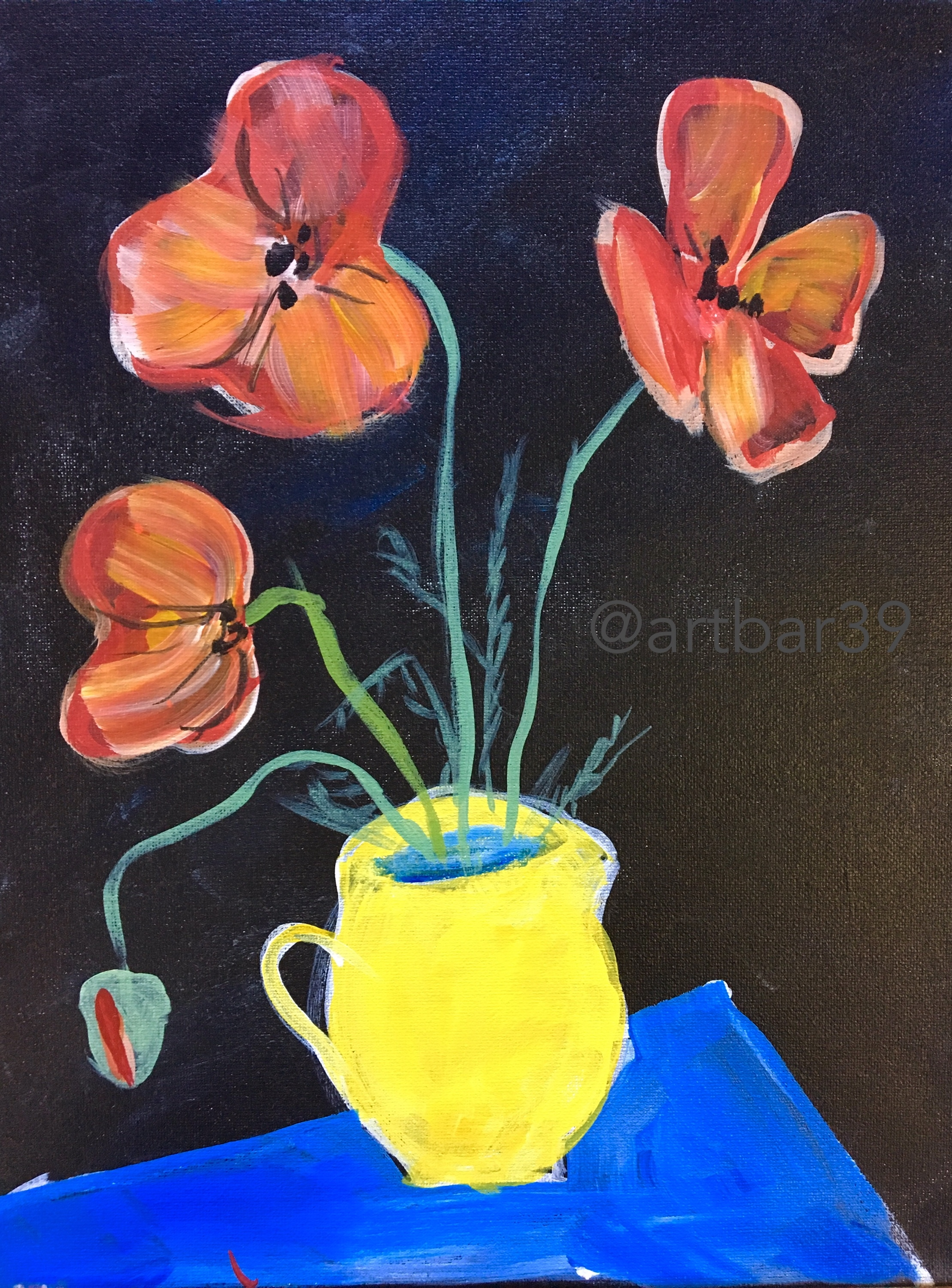 Poppies in a Yellow Jug (Foujita)