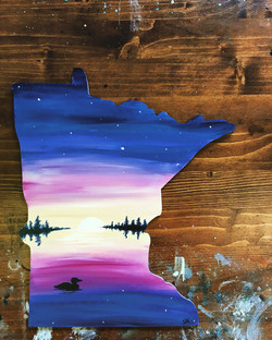 MN State Shape Purple Sunset