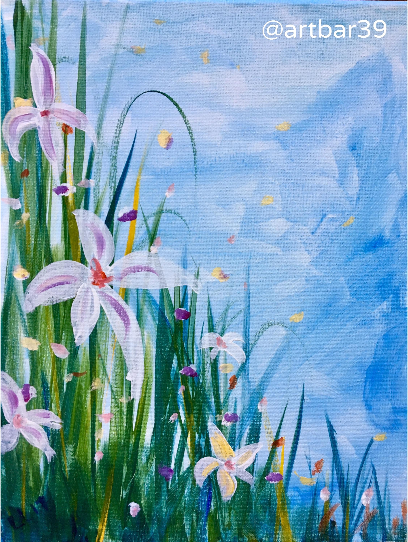 Spring Grasses with Iris