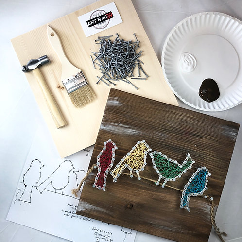 Custom String Art kit - Birds on a Wire - Without Hammer