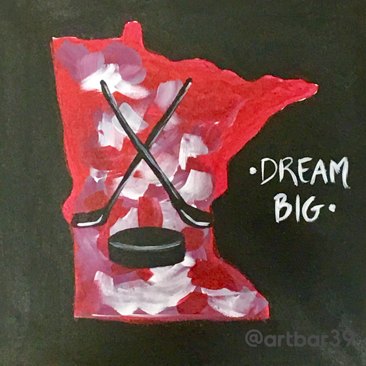 Hockey Dream Big MN State Shape