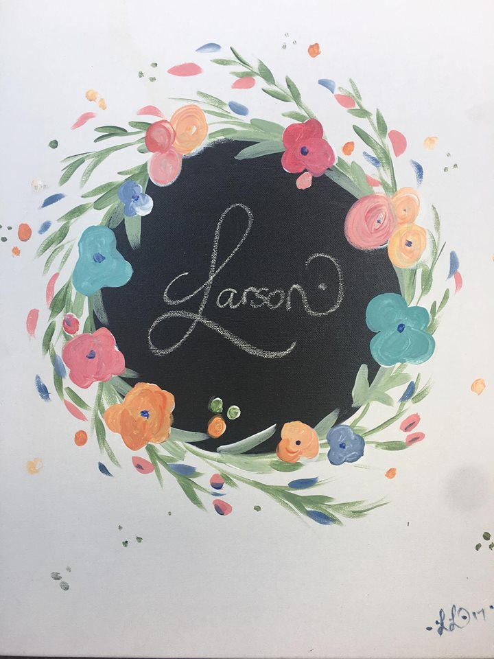 Flower Wreath Monogram (Chalkboard)