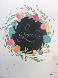 Flower Wreath Monogram (Chalkboard)