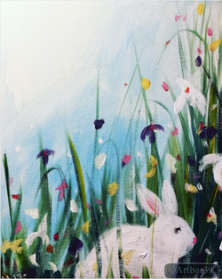 Spring Blooms- Bunny