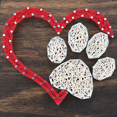 Custom String Art kit - Paw & Heart - Without Hammer