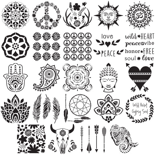 Boho Rustic Stencil Pack Options