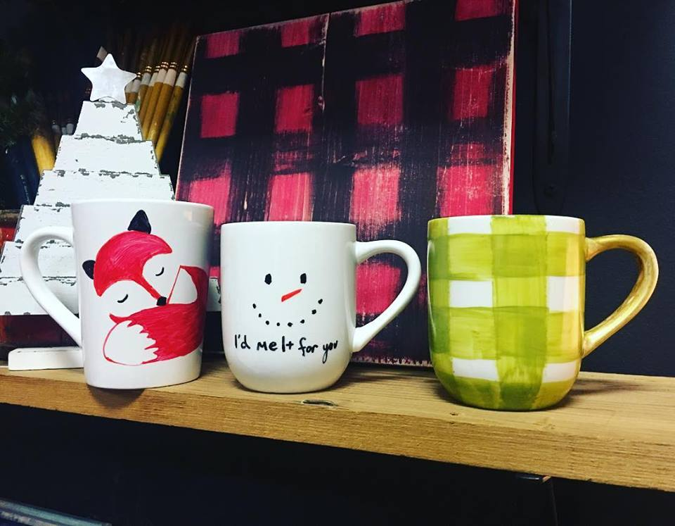 Fox, Snowperson, Plaid Mugs