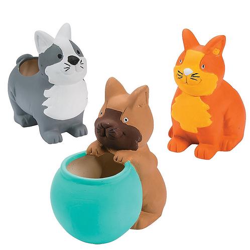 Set of 3 Kitty Ceramic Paintable figurine Planters