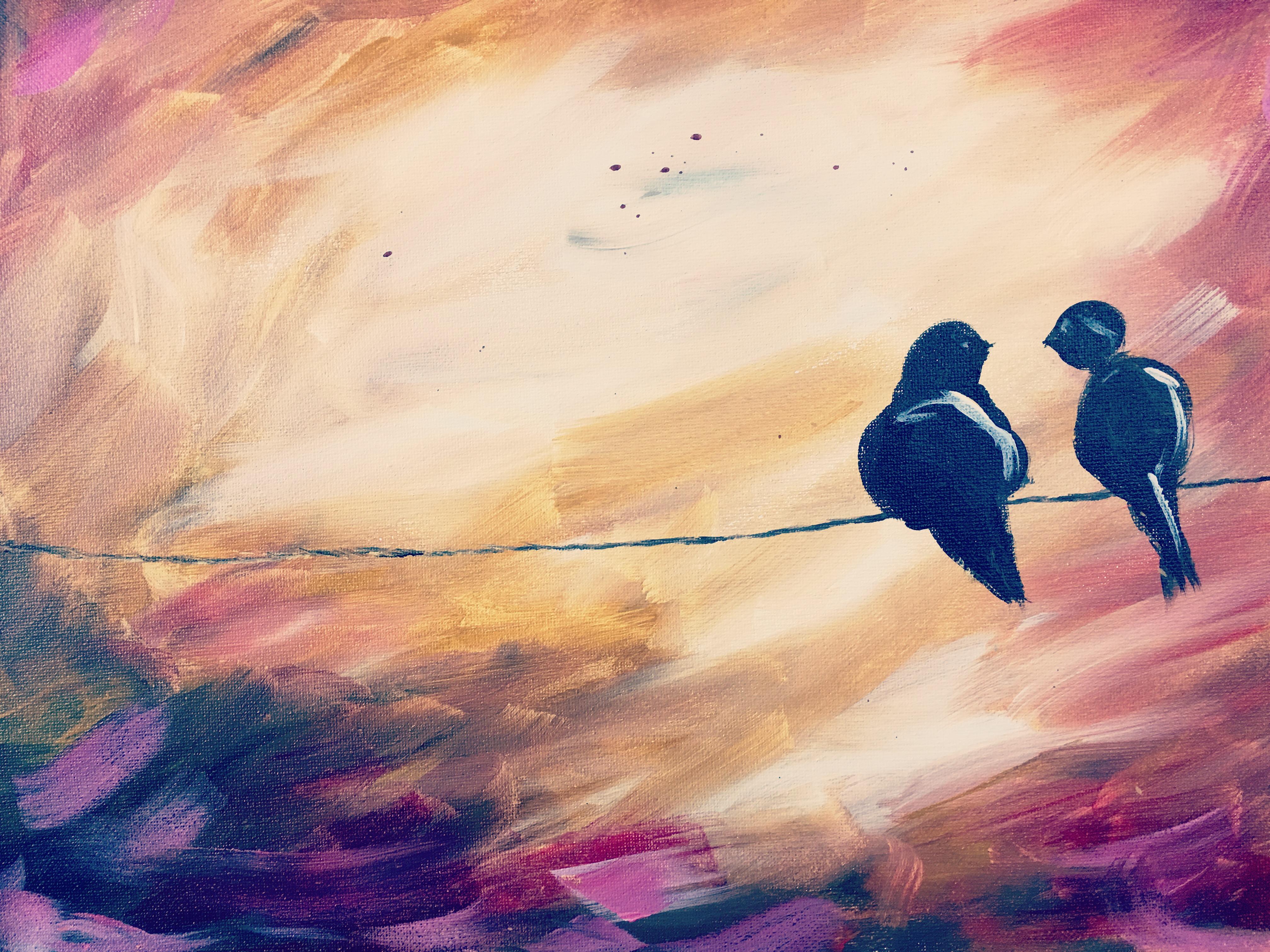 "Love Birds - Pink sky 16 X 20"" or 11"