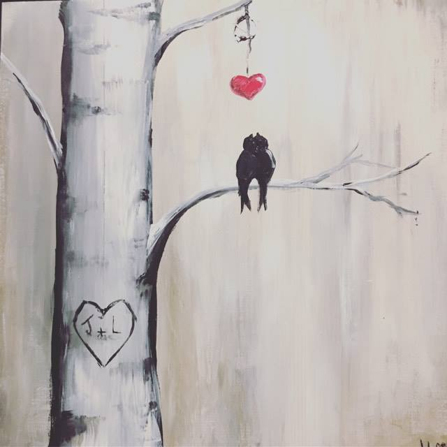 2 Birds in a tree with red heart