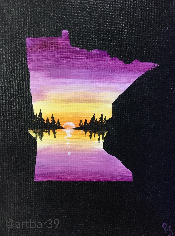 MN State Shape - Purple Landscape