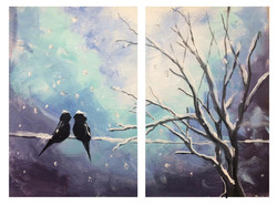 Love birds in the Winter