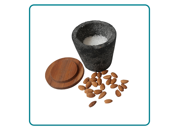 Hand Carved Basalt Container with Wooden Lid