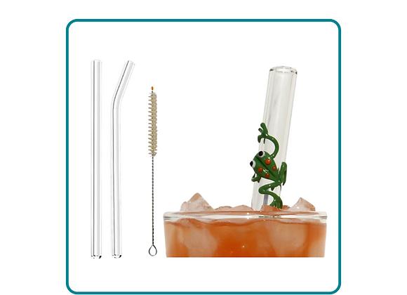 Set of Reusable Glass Straws