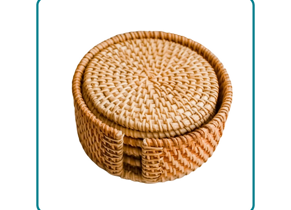 Gift Package: Boho Rattan Phone Stand and 6 Handwoven Coasters
