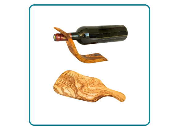 Olivewood Wine Bottle Balance and Small Wooden Board