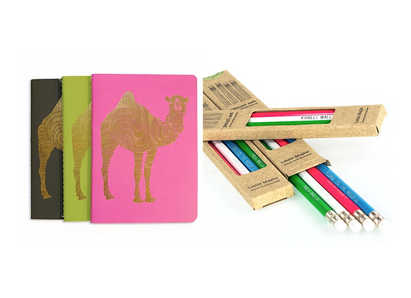 Gift Package: 3 Fancy Notebooks and Set Of Pencils