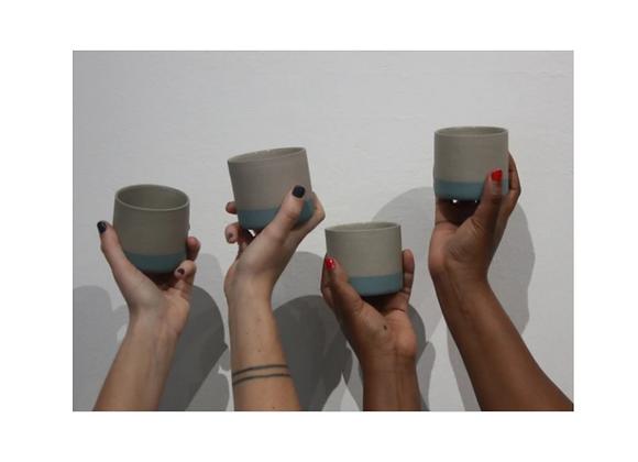 Handmade Ceramic Flat White Tumbler Set