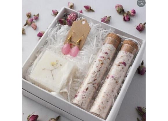 Gift Package: Handmade Soap, Earrings, Bath Salts