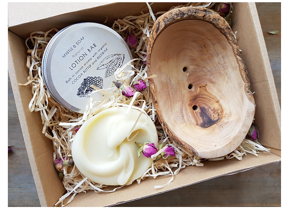 Olive Wood Soap Dish with Handmade Soap and Lotion Bars