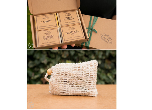 Collection of Soap for Sensitive Skin with Soap Bag