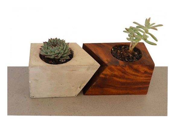 Concrete and Wood Flowerpots