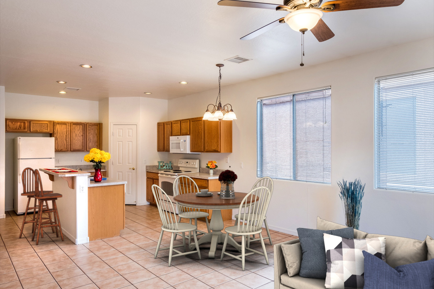 Kitchen/Great room virtually staged